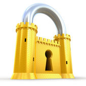 Mighty fortress as a padlock — Stock Photo