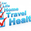Health Insurance, Travel Insurance, Home Insurance, Life Insurance, Car Ins - Stock Photo