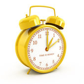 Golden retro style alarm clock with time is money sign isolated on white — Stock Photo