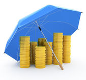 Pile of coins under an umbrella. Insurance concept isolated on white — Stock Photo