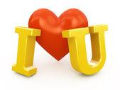 Corazón rojo con te amo signo aislado en blanco. — Foto de Stock