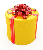 Gift box with ribbon isolated on white — Stock Photo