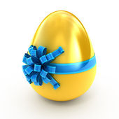 Easter surprise - golden egg with ribbon isolated on white — Stock Photo