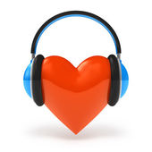 Heart with headphones. Love music concept isolated on white — Stock Photo