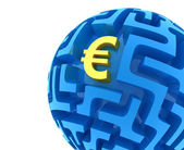 Euro puzzle. Money Sphere Maze — 图库照片