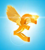 Flying Golden Pound sterling currency sign with wings — Stock Photo