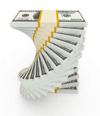 Income growth concept. Spiral dollar stack isolated on white — Stock Photo