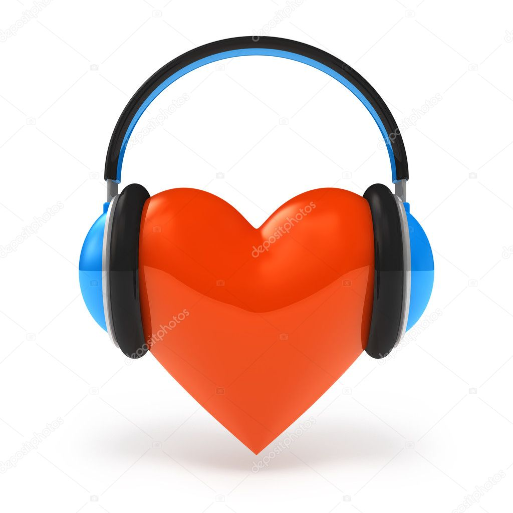 Heart with headphones. Love music concept isolated on white — Stock Photo #4909744