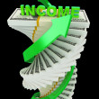 Income growth concept. Spiral dollar stack with arrows isolated on black — Stock Photo