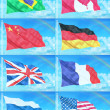 Stock Photo: 8 countries flags on sky background