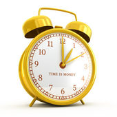 Golden alarm clock with time is money sign isolated on white — ストック写真