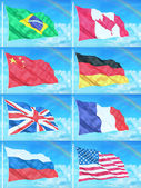 8 countries flags on sky background — Stock Photo
