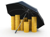 Piles of golden coins under an umbrella isolated on white — Stock Photo