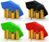 Piles of golden coins under an umbrella isolated on white 4 colors set — Stock Photo