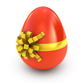 Easter surprise - red egg with ribbon isolated on white — Stock Photo