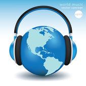 Earth with headphones — Stock Vector