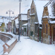 Stock Photo: Romantic street in old town winter season with snow