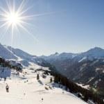 Ski slope in austrian alps — Stock Photo