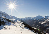 Ski slope in austrian alps — Stock Photo