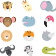 Cute wild safari animal cartoon set — Stock vektor