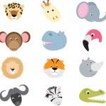 Cute wild safari animal cartoon set — Stock Vector