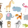 Cute wild safari animal cartoon set - Stok Vektör