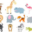 Cute wild safari animal cartoon set — Imagens vectoriais em stock