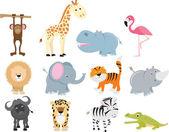 χαριτωμένο άγριο σαφάρι ζώων γελοιογραφία σύνολο — Διανυσματικό Αρχείο