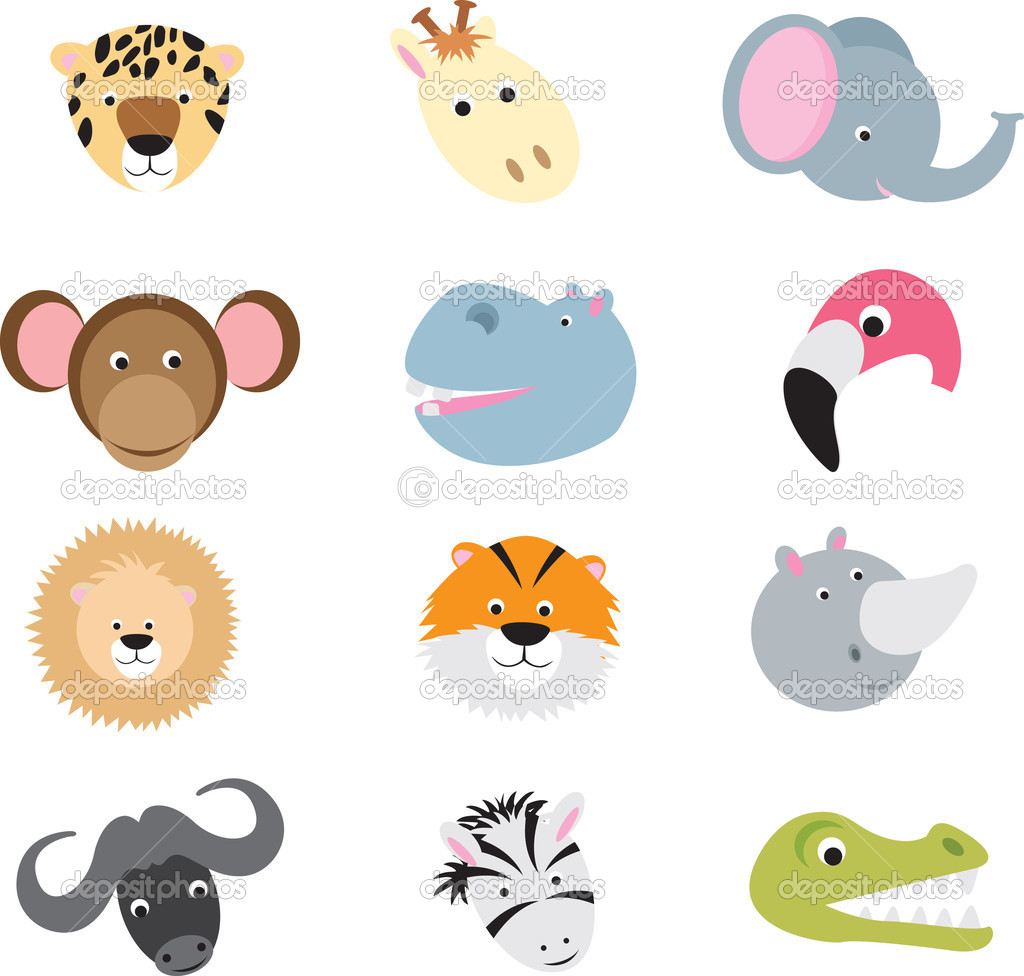 Collection of cute wild animal faces as cartoons on a white background — Stock Vector #4091834