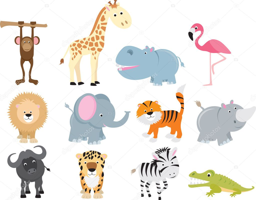 Set of animal icons and cartoons of wild animals. — Stok Vektör #4092086