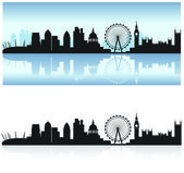 London skyline and reflection — Stock Vector