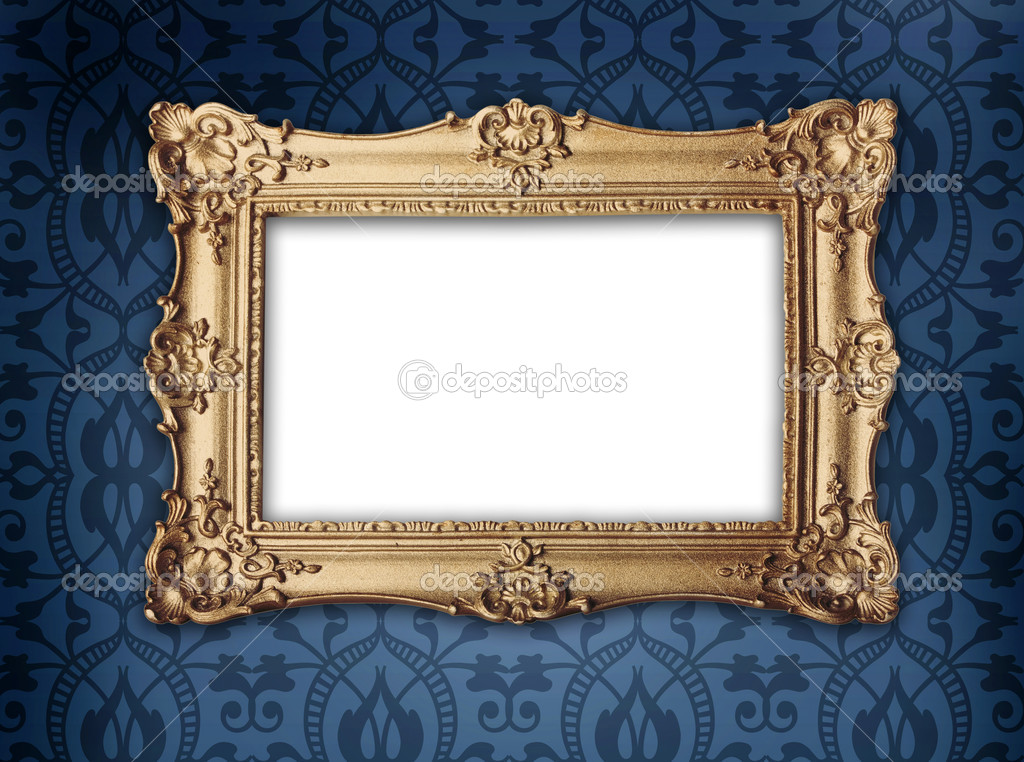 Regency or victorian style gold frame hanging on decorative blue patterned wallpaper  Stock Photo #4333948
