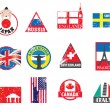 World flags and symbol sticker set — Stock Vector #4377533