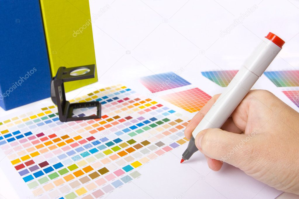 Graphic designer, printer or ilustrator with colour swatches — Zdjęcie stockowe #4452623