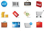 Shopping aand retail icon set — Stock Vector