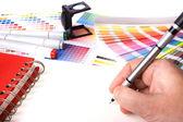 Escritorio de diseño gráfico — Foto de Stock
