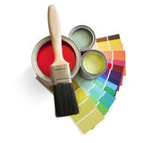 Paint pot and swatches — Stockfoto
