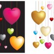 Hanging hearts on strings — Stock Vector