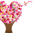 Love heart tree — Vettoriali Stock