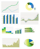 Selection of typical business performance graphs — Stock Vector