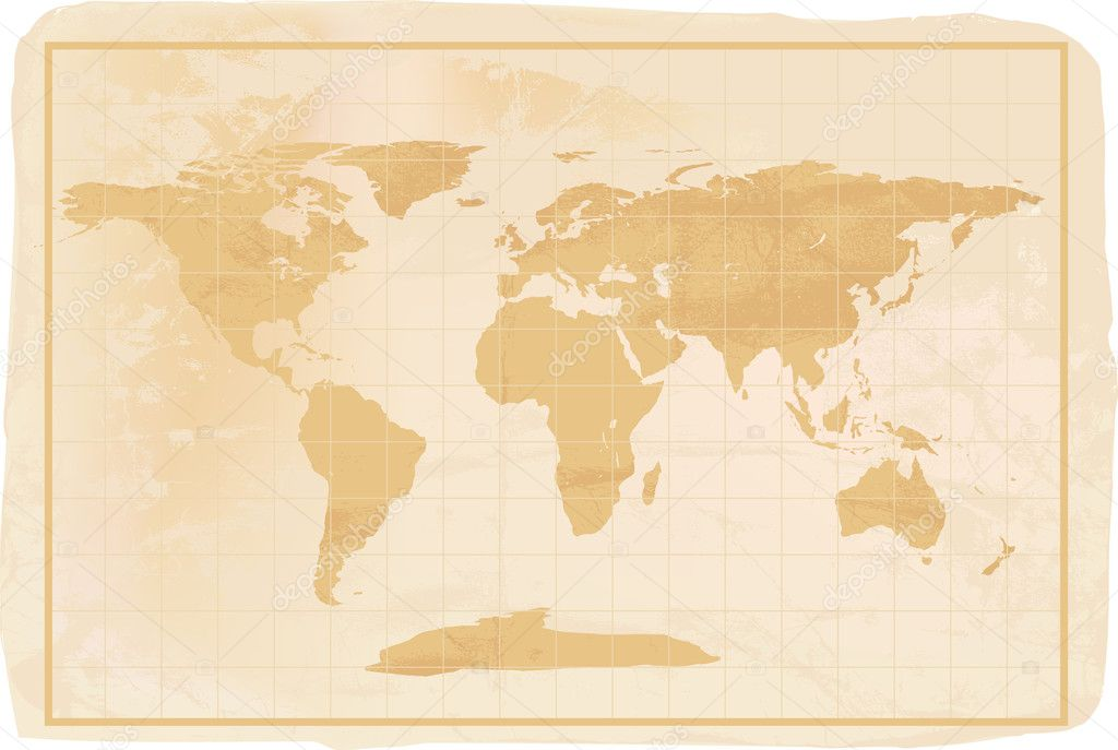 Illustration of a yellow old vintage world map with crreases and a little dirty — Stock Vector #4810311