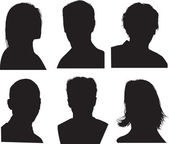 Detailed head silhouettes — Stock Vector