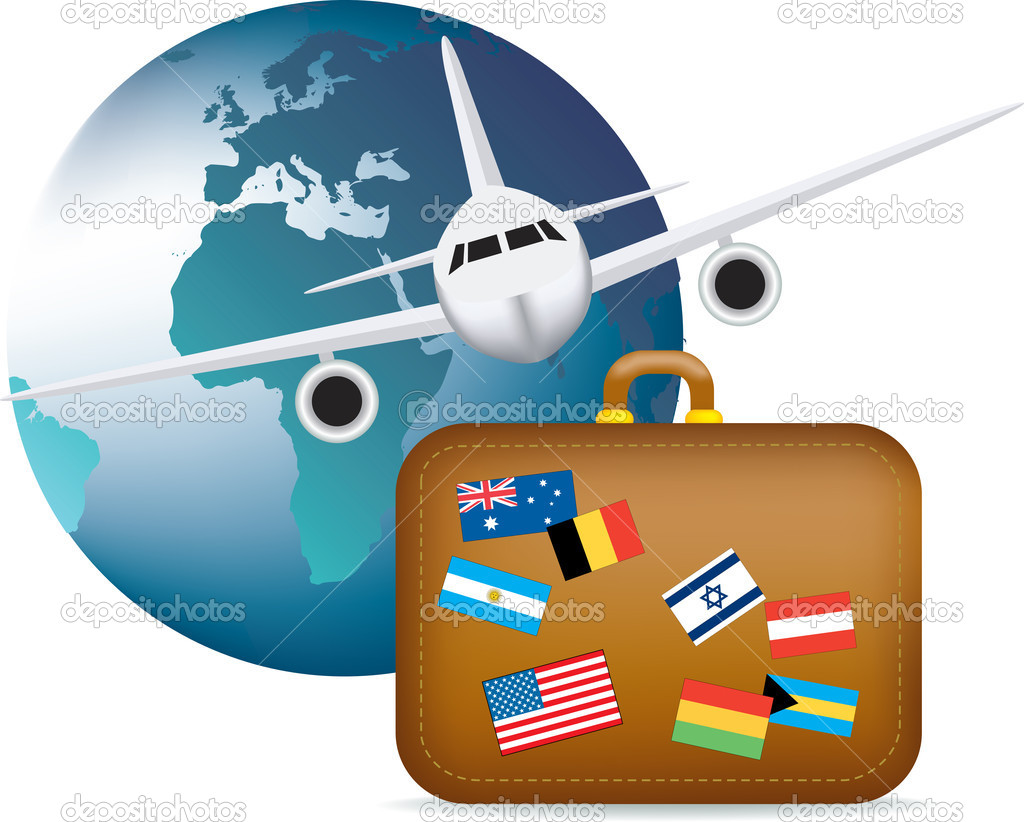 Illustration to depict worldwide global travel and holidays — Stock Vector #4912031