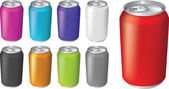 Vector illustrations of fizzy drink soda cans — Stock Vector