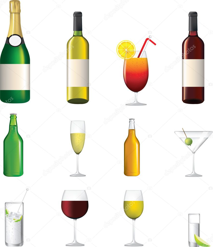 Wine, champagne, shorts, cocktails, vector illustrations of alcoholic drinks — Image vectorielle #4972734