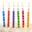 Birthday candles on white — Stock Photo