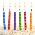 Birthday candles on white — Stock Photo