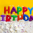 Happy birthday cake with message — Stock Photo
