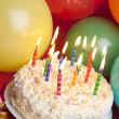 Party cake and balloons — Foto de Stock