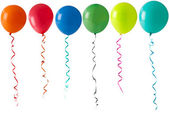 Row of balloons on a white background — Stock Photo